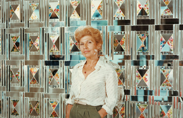 Monir-with-her-work-Tehran-1970s-5g