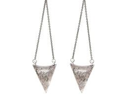 Arrowhead Chandelier Earrings - Antiqued Silver