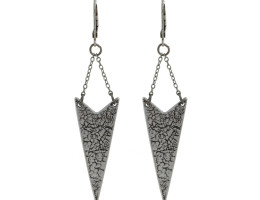 Chevron Earrings - Antiqued Silver