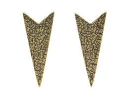 Chevron Post Earrings - Antiqued Brass