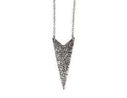 Chevron Craquelure Necklace - Antiqued Silver
