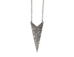 Chevron Craquelure Necklace - Antiqued Silver