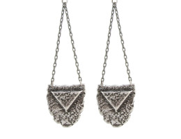 Mini Shield Chandelier Earrings - Antiqued Silver