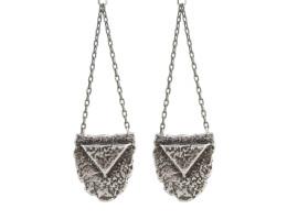 Mini Shield Chandelier Earrings - Antiqued Silver
