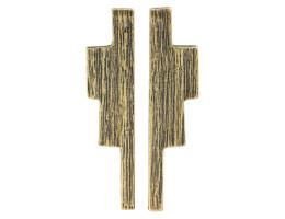 Ziggurat Post Earrings - Antiqued Brass