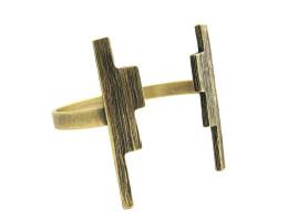 Ziggurat Cuff Bracelet - Antiqued Brass