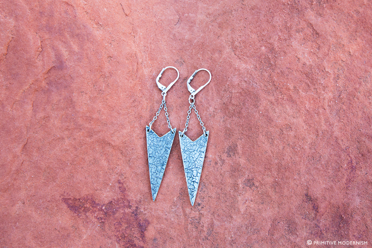 // Primitive Modernism Jewelry - Chevron Craquelure Earrings in Sedona, AZ
